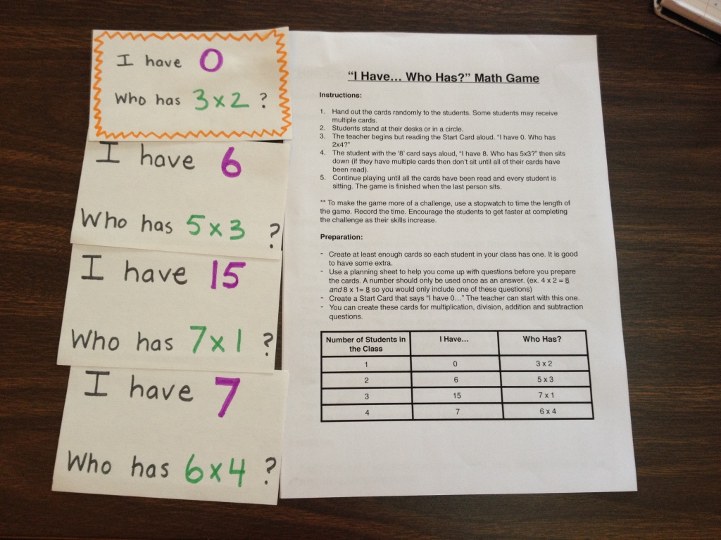 New games to reinforce multiplication facts