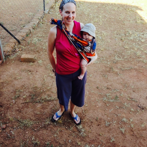 Baby wearing in a chitenge